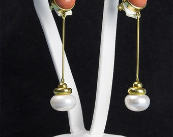 Yellow Gold Earrings-freshwater pearl Cherry corals