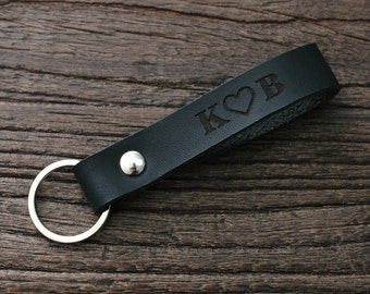 Gift for Her, Personalized Leather Keychain, Monogram Leather Keychain, 0042