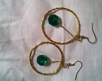Handcrafted Hoops with Dangling Crystal