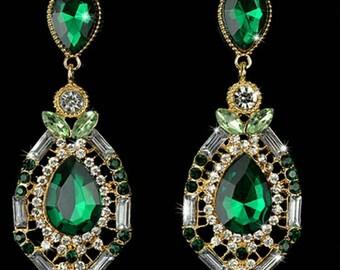 Vintage Luxury Elegant Fuax Rhinestone Drop Earrings