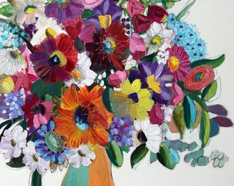 Color Me Gorgeous!  Large FRAMED Mixed Media Floral Painting, Big Flower Arrangement Painting, Colorful Flowers Painting