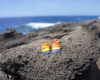 Rectangle Hawaiian Sunset Earrings