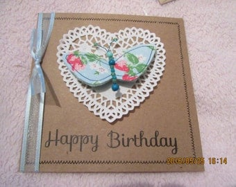 Handmade Card with butterfly brooch pin Cath Kidston fabric
