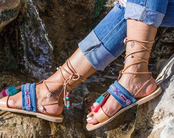 Strappy Sandals, Ethnic Style Sandals, Boho Sandals, Lace Up Sandals, Leather Sandals
