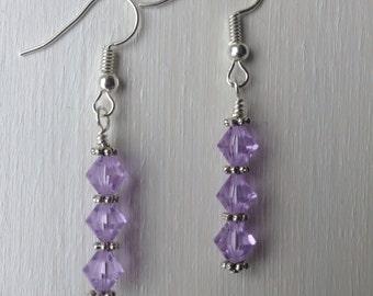Swarovski Earrings, Violet Swarovski Earrings, Violet Earrings
