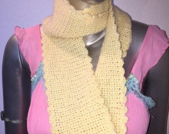 Crochet Pale Yellow Cashmere Infinity Scarf.