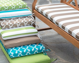 Replacement Custom Outdoor Bench Cushion Cover. Cover Only. Zips off. Has Ties and Piping. Use Any Fabric You'd Like!