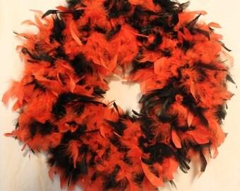 Quality  Haloween Black-Orange Feather Wreath