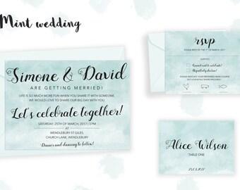 Printable Mint Wedding Invitation set (Wedding Invitation, RSVP, Place Card)