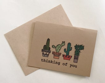 Thinking of you cactus greeting card - kraft paper card with hand colored design - handmade greeting card - thinking of you