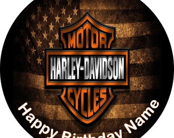 Harley Davidson Edible Cake, Cupcake and Cookie Topper