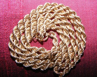 9 CARAT GOLD Rope Chain - 20 inches - 7 grams