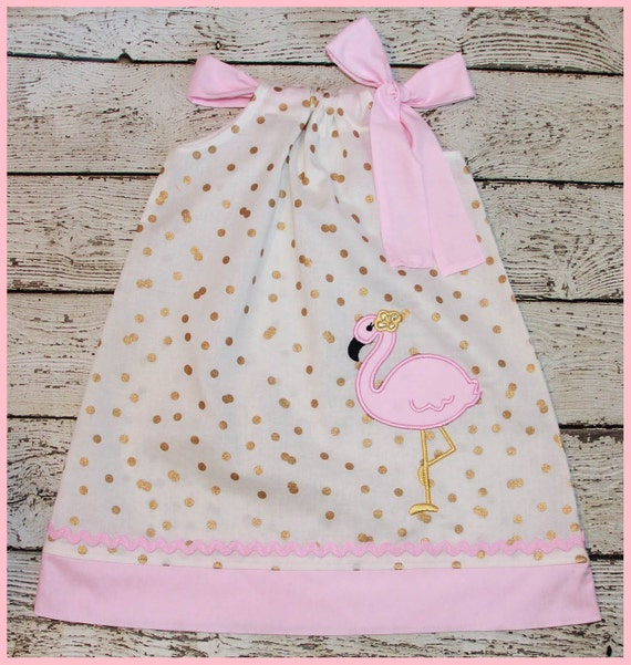 Pretty Pink and Gold Flamingo  Pillowcase style dress Confetti gold dot and Pink
