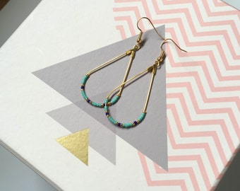 Earrings with pearls Miuyki - blue, Turquoise, Golden