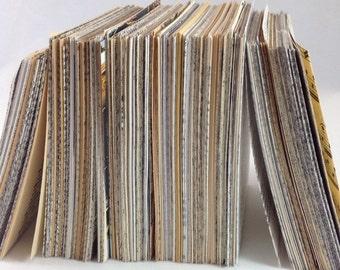 100 Piece 3x4 Journal Stack, Junk Journal, Smash Book, Art Journal, DIY Journal, Vintage Journal, Mixed Paper Journal