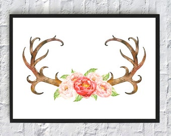 Horns watercolor cow skull bull floral flowers print printable wall art decor home decoration room decor red green brown A3 A4 8 x 11 inch
