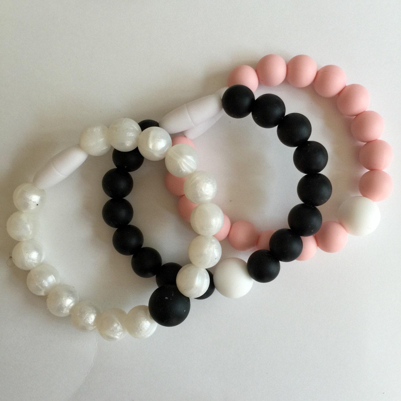 chewable bracelet soft pink white fidget bracelet