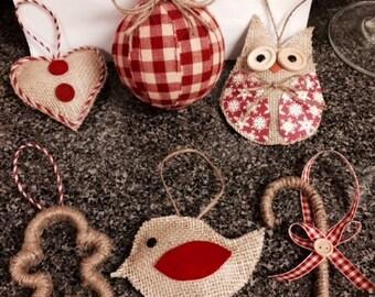 Rustic Christmas Ornaments - set of 6