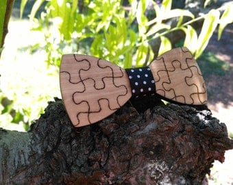 """Papillon olive wood-ash """"puzzle design"""""""