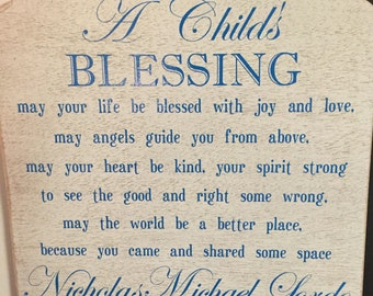 A Child's Blessing Wooden Sign