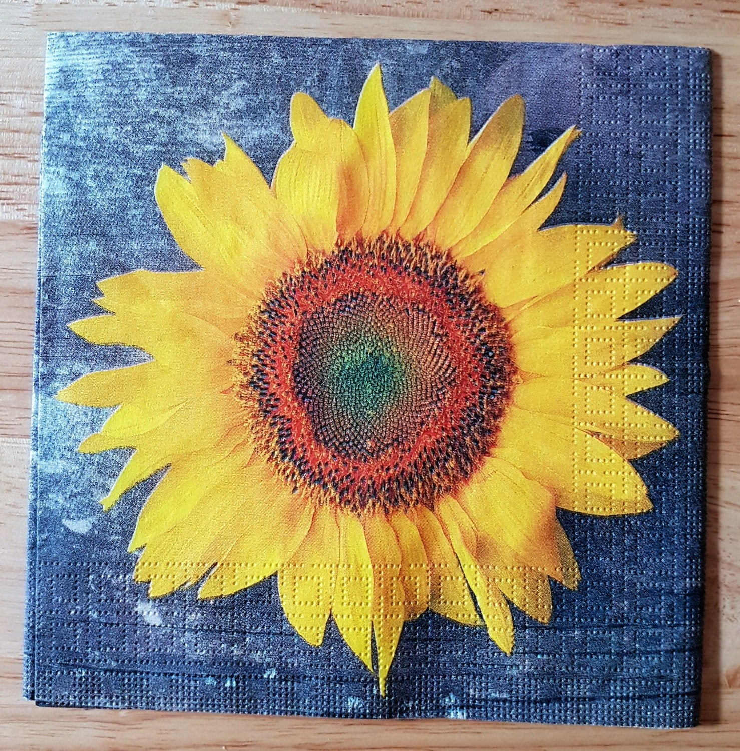 Set Of 4 Large Sunflower Paper Lunch Napkins Decoupage