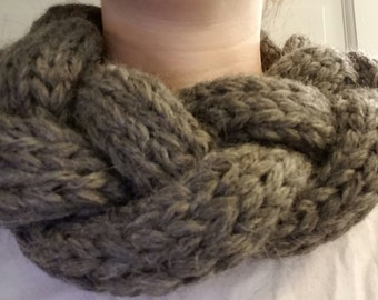 Hand Knit braided cowl