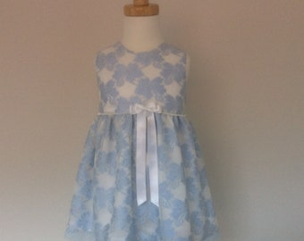 Girls Blue Lace Dress - Size 1 - Flower Girl Dress - Girls Special Occasion Dress - Girls Party Dress - READY TO SHIP