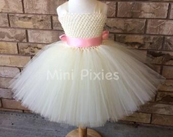 Ivory tutu dress with custom sash, Birthday tutu dress, Flower girl tutu dress with blush sash, tutu dress with pink sash,