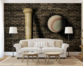 Baseball MURAL Self Adhesive Peel Stick Large Photo Mural Wallpaper Wall Sticker