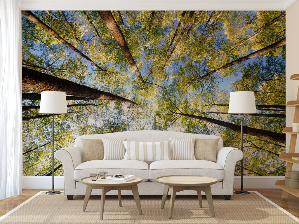Green forest treetop mural self adhesive peel and stick large for Mural go green