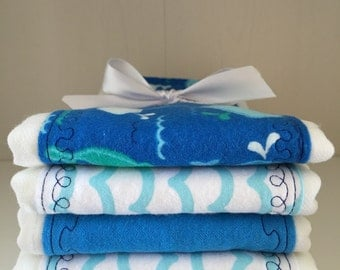 Baby Burp Cloths Nautical Waves and Whales
