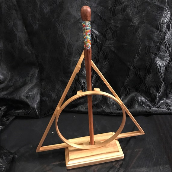 Deathly hallows wizard wand stand gold fits slim wands of for Elder wand display