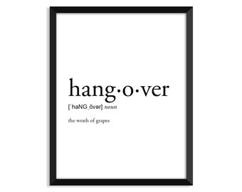 Hangover Definition, Adult, College Dorm Room Decor, Dorm Wall Art, Dictionary Art Print, Office Decor, Minimalist Poster, Funny Definition
