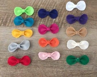 Felt Bow Hair Clips - choose your color, baby, girl, headband, bow
