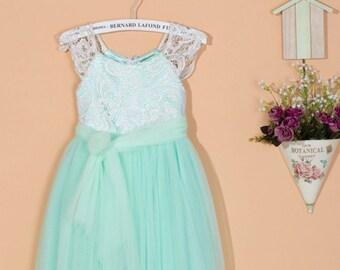 Mint green flower girl dress/toddler girl dress/pageant dress/lace flower girl dress/birthday party dress/green wedding dress 0059