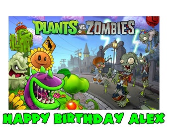 PLANTS VS ZOMBIES 1/4 Edible Frosting Icing Sheet Cake Topper Customized Personalized Birthday Party Custom Decoration