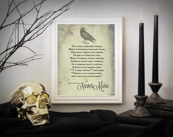Poe's Raven, Halloween Art, Edgar Allan Poe The Raven, Nevermore, Halloween, Halloween Decor, Art Print, Literary Library Art