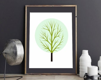 Geometric Art Print, Digital Download Art, Tree Print, Modern Decor Art Print, Nursery Art,  Printable Digital Download
