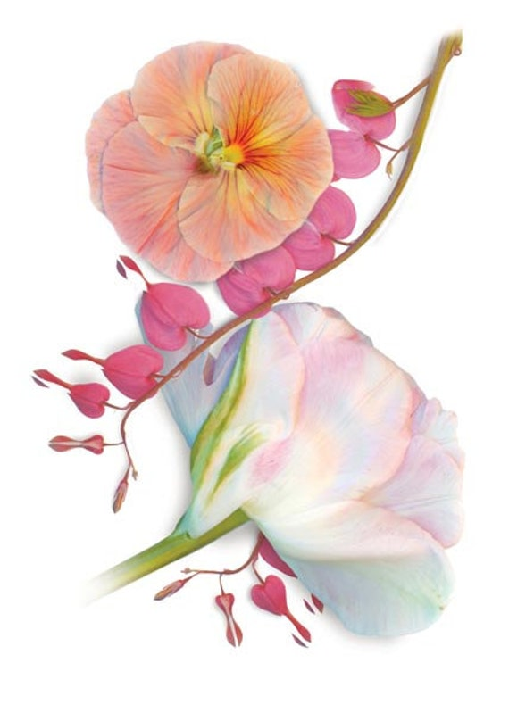"""Flowers on fabric. Garden florals scanned and applied by heat transfer to heavy cotton fabric. Bleeding Heart, 22"""" x 32""""."""