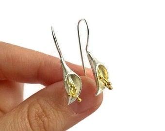 Dainty Lilly drop earrings, delicate jewelry, 925 Sterling silver earrings, 925 sterling silver jewelry, dainty flower earrings, 18k gold