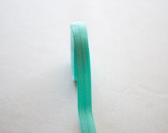 "5/8"" Aqua Blue Fold Over Elastic"