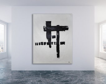 Large Black and White Painting, Abstract Painting, Modern Art, Minimalist Art, Contemporary Art Painting, XL Painting, Large Painting