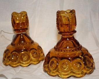 Pair of Amber Moon and stars Candlesticks