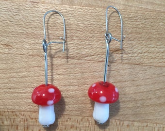 Toadstool Glass Earrings
