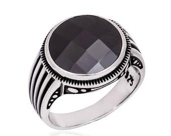 Onyx Ring, Onyx Mens Ring, Sterling Silver Onyx Gemstone Mens Ring, Black Onyx Mens Ring, 925 Sterling Silver Onyx Mens Ring, Black Onyx
