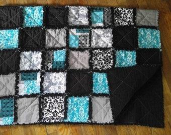 Baby Size Rag Quilt (Aqua, Black, and Gray)