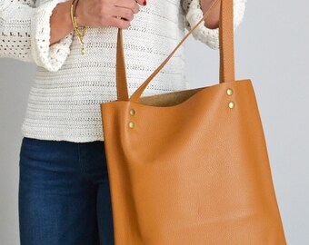 LEATHER Tote Bag - TAN Leather Tote - Pebbled Leather Laptop Bag - Woman Camel Brown Leather Tote - Soft leather tote, Tan Tote - MADRID -