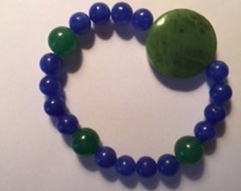 Green Jade with Blue Glass