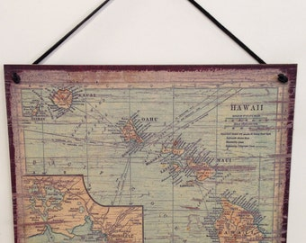 "Wall decor, Hawaii Islands, Map, Paradise, wall decor, 8""X10"" wood sign"