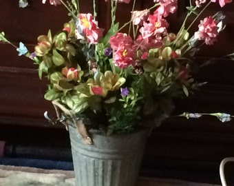 Faux Flower in a Pail, Faux Flower Arrangement, Azalea Mixed Flower Arrangement, Bucket of Azalaes,